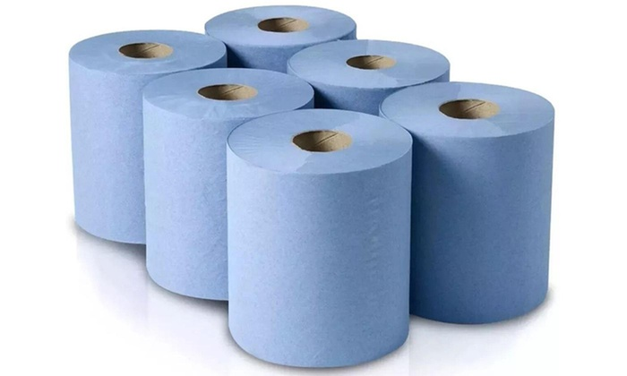Six- or Twelve-Pack of White or Blue Centrefeed Household Disposable Kitchen Paper Towel Cleaning Rolls (£8.95)