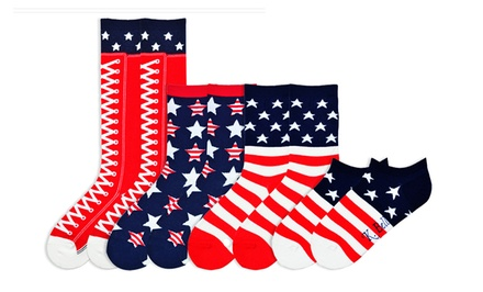 K. Bell Women's Americana Socks for Sizes 9–11 (4-Pair Pack)