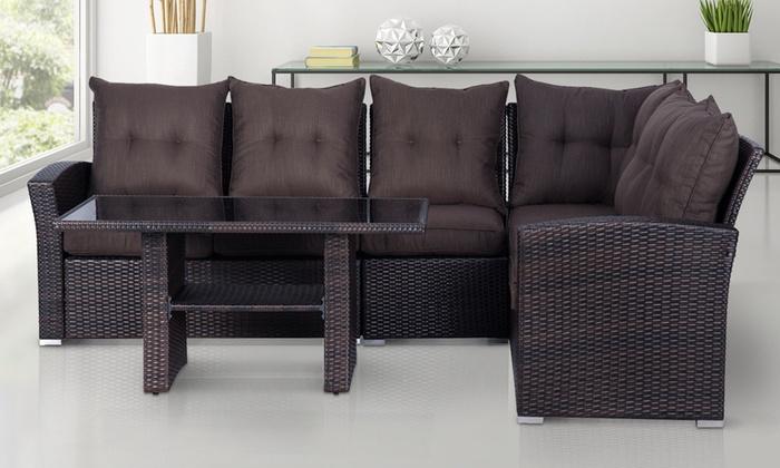 Up to 26 off rattan effect 5 seater sofa set groupon for Sectional sofa groupon