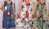 Ärmelloses Strandkleid mit floralem Motiv für Damen