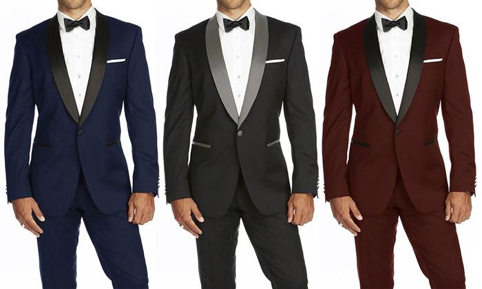 164c3ec48f3 Braveman Men's Slim Fit Shawl Lapel Runway Tuxedo with Free Bow Tie