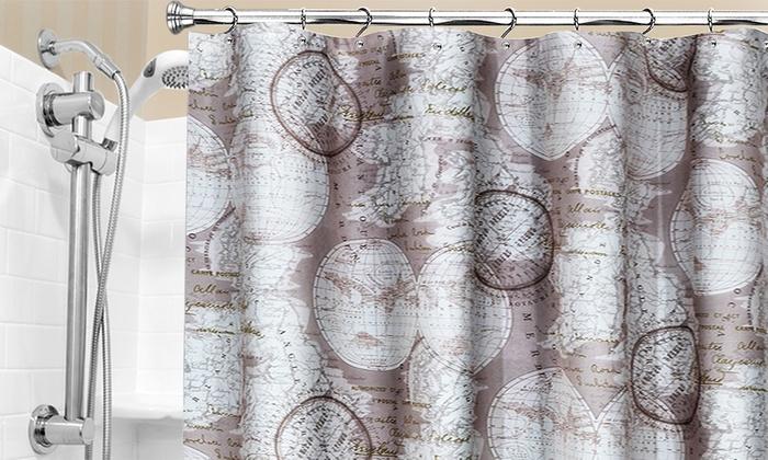 72x72 World Atlas Fabric Shower Curtain