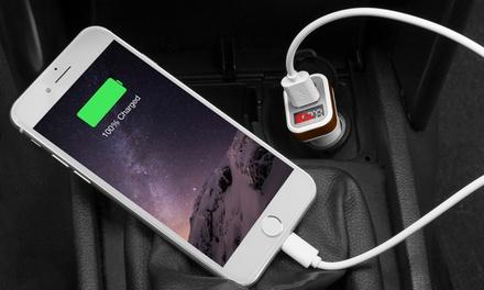 Doppio caricatore USB da auto con dispaly disponibile in 2 colori