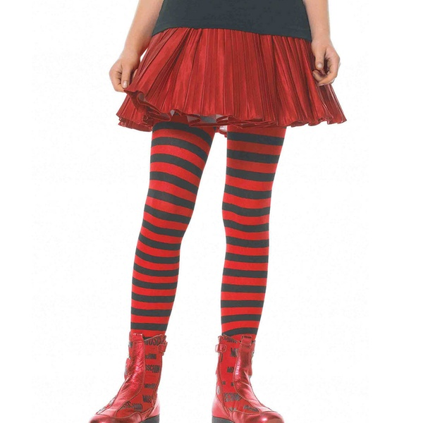 Red//White Leg Avenues Childrens Striped Tights X-Large