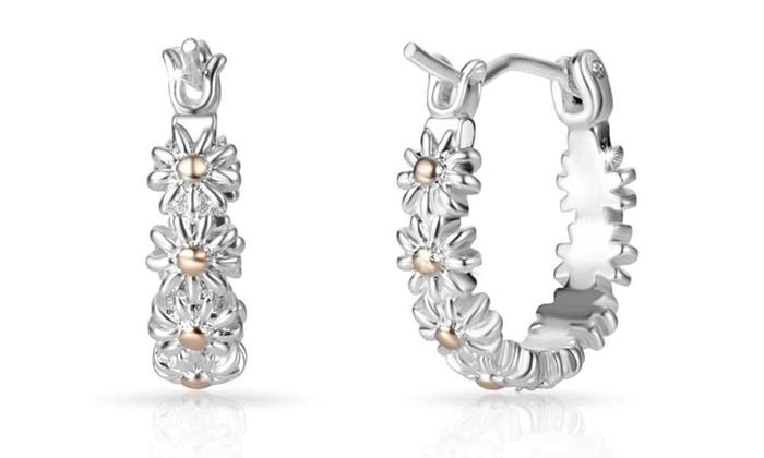 Groupon Goods Global GmbH: One, Two or Three Pairs of Philip Jones Daisy Hoop Earrings