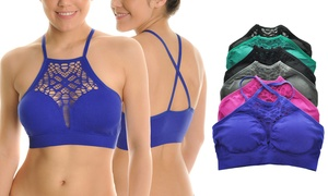 Seamless High-Neck Bralette with Mesh Cut-Outs (6-Pack)