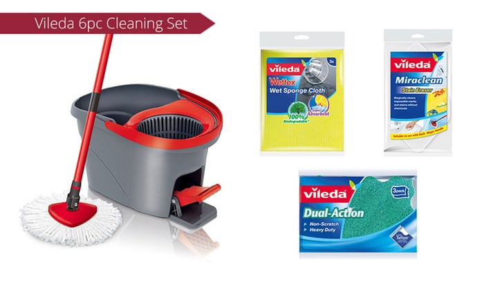 vileda wring spin mop cleaning bundle groupon goods. Black Bedroom Furniture Sets. Home Design Ideas