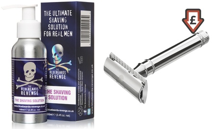 The Bluebeards Revenge Brushless Shaving Solution and Scimitar DoubleEdge Safety Razor