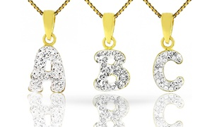 Kids' 14K Gold over Sterling Silver Crystal Initial Pendants