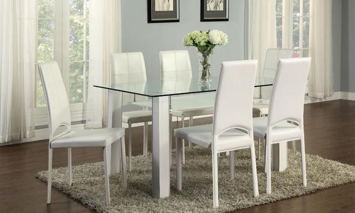 Tavolo da pranzo con sedie groupon goods for Sedie da tavolo pranzo