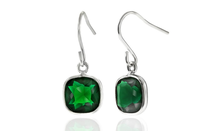 5 00 Ctw Cushion Cut Emerald Drop Earrings In Sterling Silver