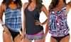 Groupon Goods Global GmbH: 1x oder 2x Tankini mit buntem Muster und in der Farbe nach Wahl