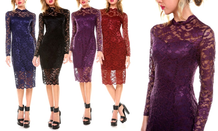37b098ff0f12d Women's Mock-Neck Lace-Overlay Cocktail Dress | Groupon