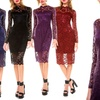 Women's Mock-Neck Lace-Overlay Cocktail Dress