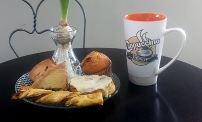 image for $12 for Four vouchers, Each Good for $5 Worth of <strong>Coffee</strong> & Pastries at Cappuccino Depot ($20 Total Value)