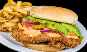The Burger Barn: Burger Joint Entrees at The Burger Barn (Up to 40% Off). Mobile Redemption Only.