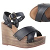 Celebrity NYC Women's Black Ankle Strap Wedges