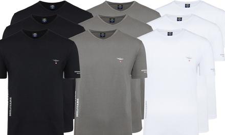 Set di 3 t-shirt da uomo Aeronautica Militare a girocollo o con scollo a V disponibili in 3 colori e varie taglie