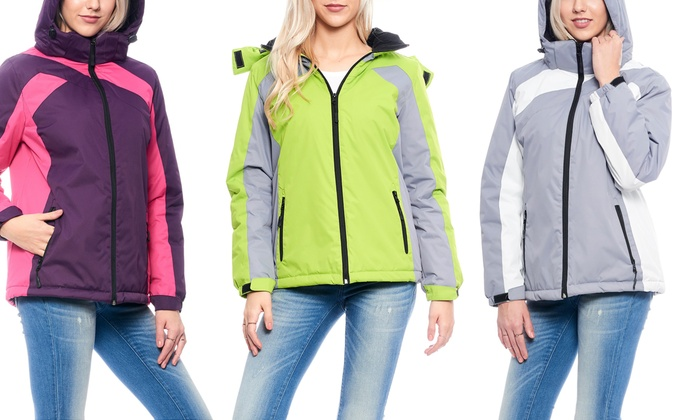 Women's Padded Ski-Style Jacket with Detachable Hood