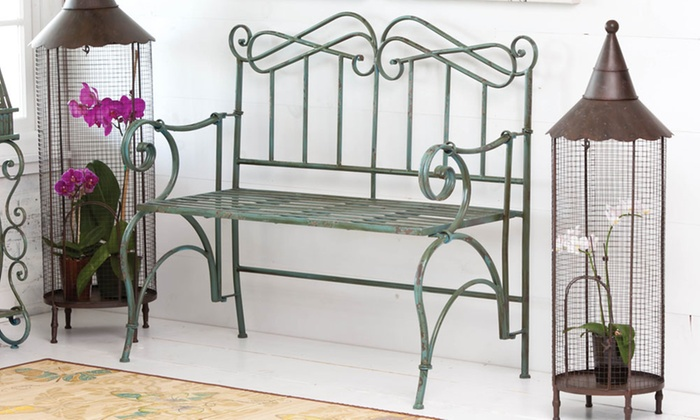 Awe Inspiring Metal Garden Bench In Antique Verdi Green Machost Co Dining Chair Design Ideas Machostcouk