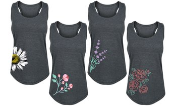 Women's Spring Floral Side Hit Tanks. Plus Sizes Available.