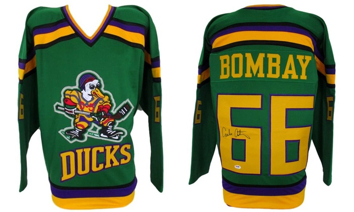 new product 145f3 86419 Emilio Estevez Autographed Custom Gordon Bombay Mighty Ducks Hockey Jersey
