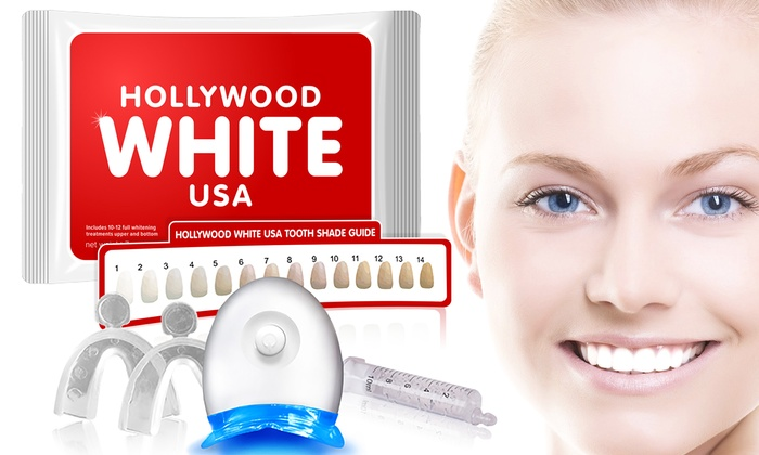 Teeth Whitening Kit Hollywood White Usa Groupon