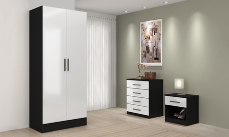 Nightstand, Chest of Drawers, Wardrobe or 3-Piece Furniture Set in Choice of Colour With Free Delivery