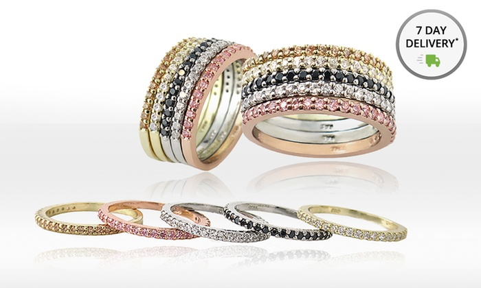 Stackable Semi Eternity Rings: Tri-Color Stackable Band Rings. Free Returns.