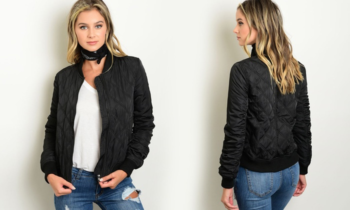 Womens Junior Quilted Bomber Jacket Size L Groupon