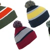 Striped Knitted Winter Beanie Cap (2-Pack)
