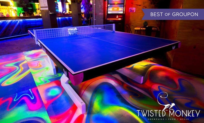 One or Two Hours of Ping-Pong with Drinks and Pizza or Nachos for Up to Six at Twisted Monkey (Up to 60%)
