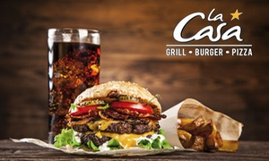 La Casa: Burger ou pizza avec dessert au choix parmi la sélection pour 2 ou 4 personnes dès 19,90 € à La Casa Vitrolles