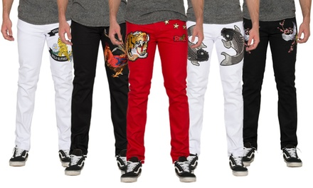 Men's Slim-Fitted Patch Jeans