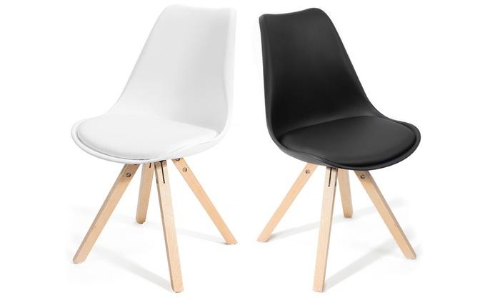 Lot de chaises scandinaves fjone noires ou blanches au for Chaises scandinaves noires