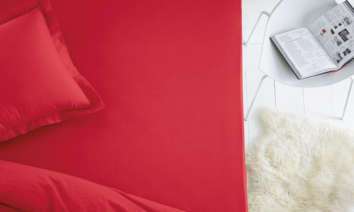drap housse 100 coton groupon. Black Bedroom Furniture Sets. Home Design Ideas