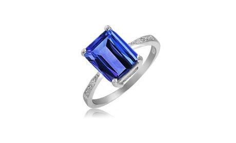 4.00 CTW Emerald Cut Genuine Tanzanite Ring in Sterling Silver