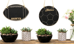 Stamp Out: One or Three Personalized Soccer-Ball- of Football-Shaped Chalkboards from Stamp Out (Up to 36% Off)