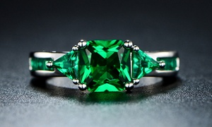 4.00 CTW Princess Cut Emerald Ring in 18K White Gold at 4.00 CTW Princess Cut Emerald Ring in 18K White Gold, plus 9.0% Cash Back from Ebates.