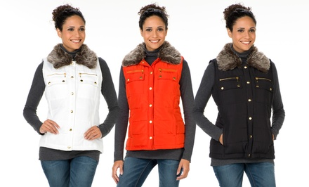 Casual Identity Women's Faux-Fur-Collar Vests. Three Colors Available. Free Returns.