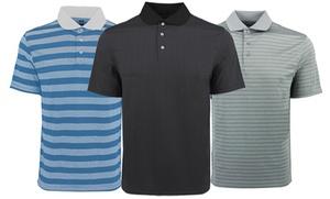PGA Tour Men's Solid or Striped Pattern Airflux Polo Shirt