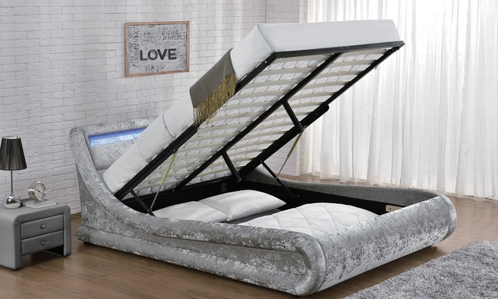 Galaxy LED Fabric Bed Frame with Optional Mattress