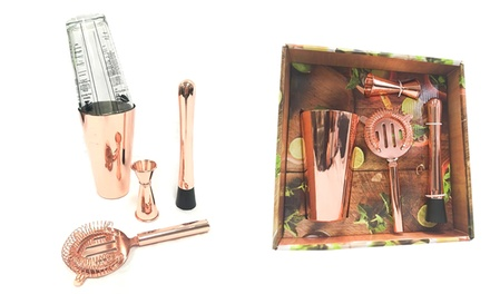 Copper Five-Piece Cocktail Shaker Bar Set: One ($35) or Two ($59)