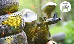 Batalha Paintball: 1 hora de jogo + 100 bolinhas + kit de proteção para 1, 6, 8 ou 10 pessoas no Batalha Paintball –