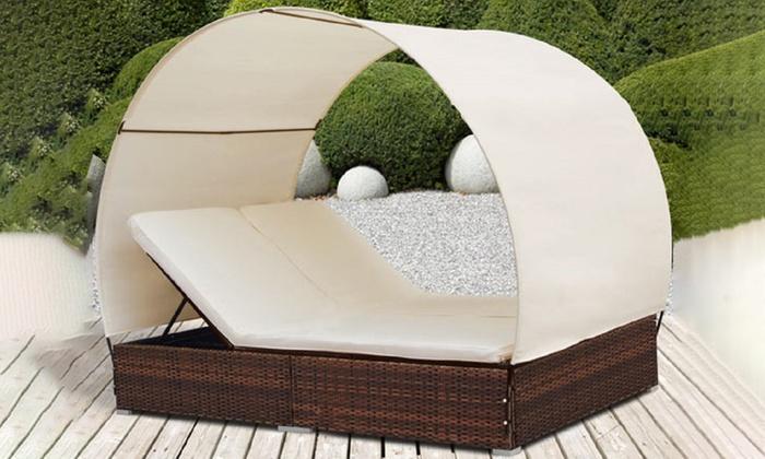 Lettino da giardino con parasole | Groupon