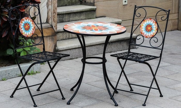 Mosaic Glass Table And Chair Bistro Set: Mosaic Glass Table And Chair  Bistro Set ...