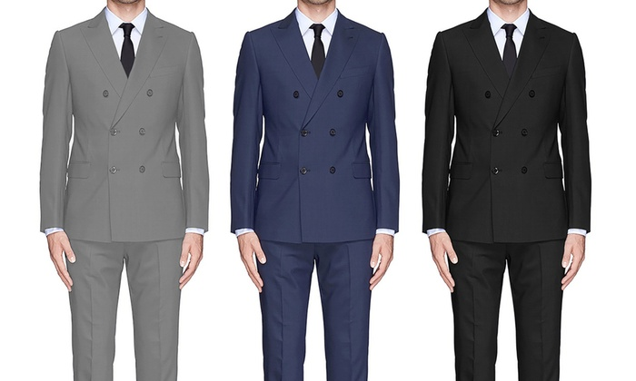 f789e2ba155a40 Braveman Men's Double-Breasted Slim-Fit Suit (2-Piece) | Groupon