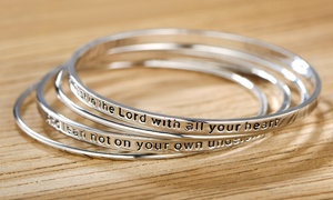 "Sevil ""Trust in the Lord"" Bangle Set (4-Piece)"