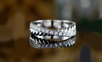 X Rope Design Eternity Ring Made with Swarovski Crystal
