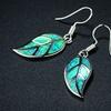 Mossy Green Opal Leaf Earrings in Rhodium Plating